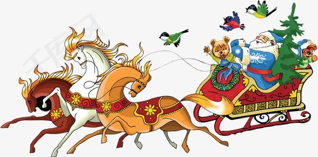 马拉圣诞车圣诞老人素材图片免费下载 高清卡通手绘png 千库网 图片编号4316072