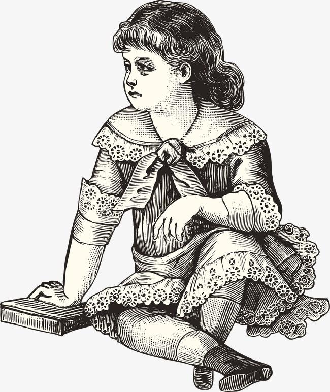 手绘欧洲中世纪调皮小女孩png素材-90设计