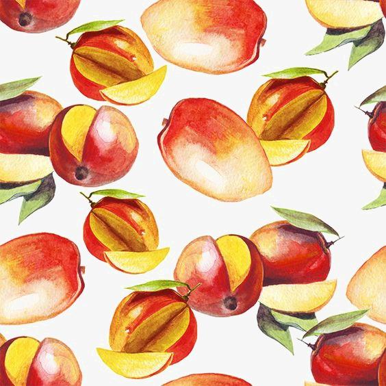 手绘水彩芒果