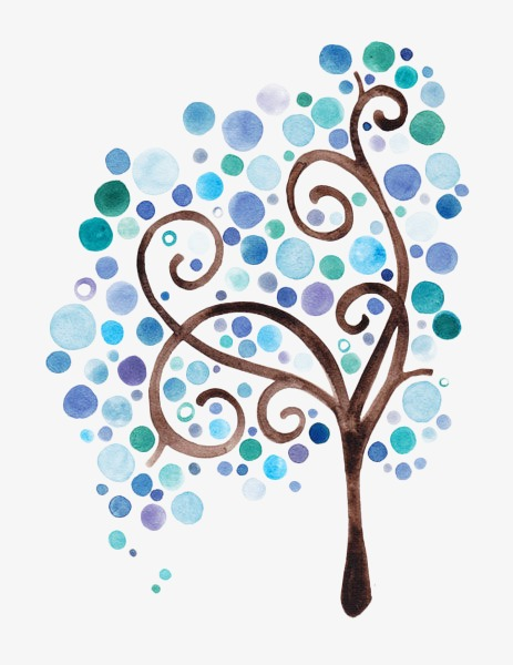 手绘水彩蓝色创意树