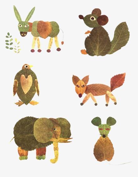 树叶拼接的小动物