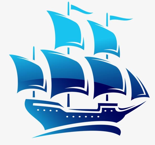手绘蓝色帆船