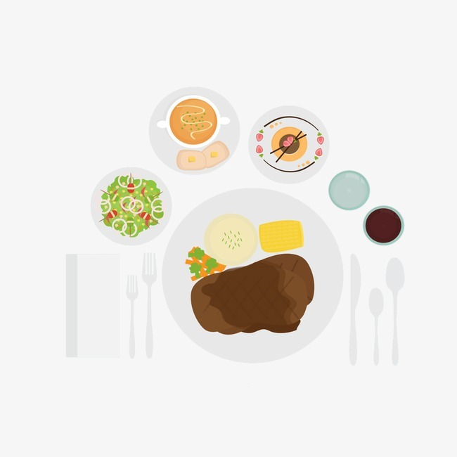手绘西餐组合