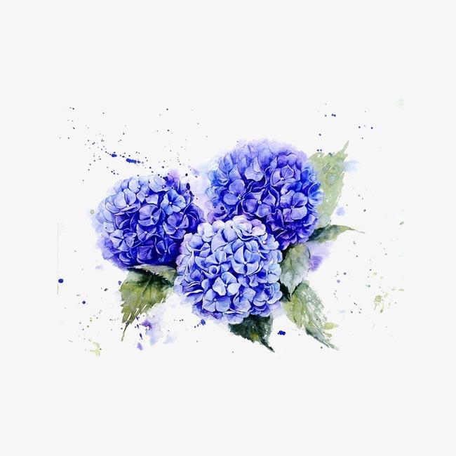 泼墨蓝色小花png素材-90设计