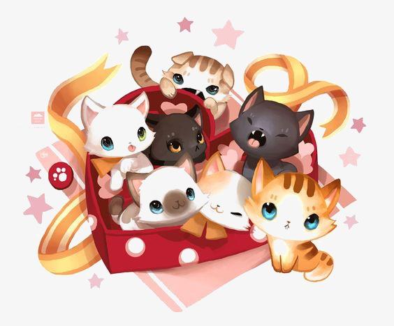 图片 卡通背景 > 【png】 卡通小猫  分类:手绘动漫 类目:其他 格式:p
