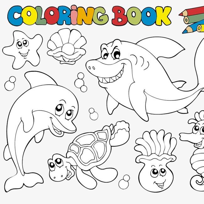 手绘海洋生物