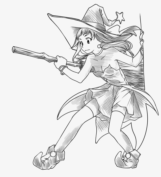 可爱的女巫简笔画