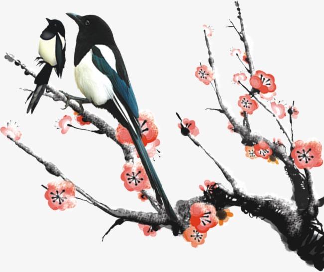 梅花树上站了两只麻雀