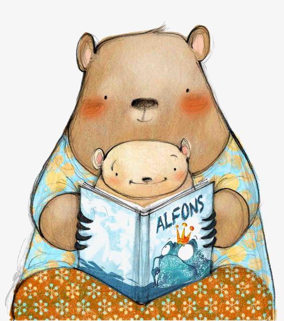 手绘卡通小熊亲子