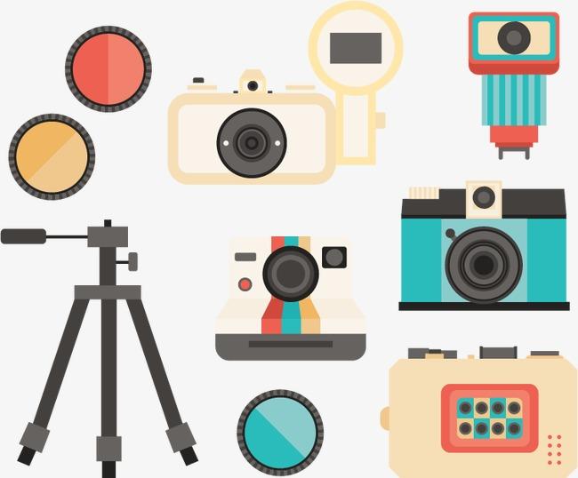 扁平老式摄影设备集素材图片免费下载 高清卡通手绘psd 千库网 图片