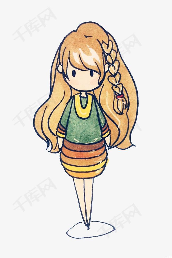 卡通简笔画小女孩橙