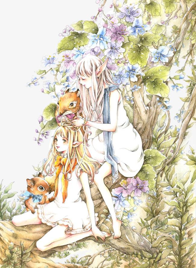 手绘唯美森林系女孩
