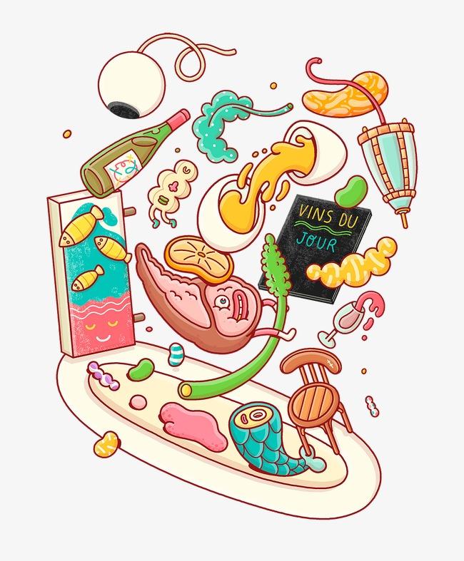 90设计提供高清png手绘动漫素材免费下载,本次手绘抽象失重食材作品为