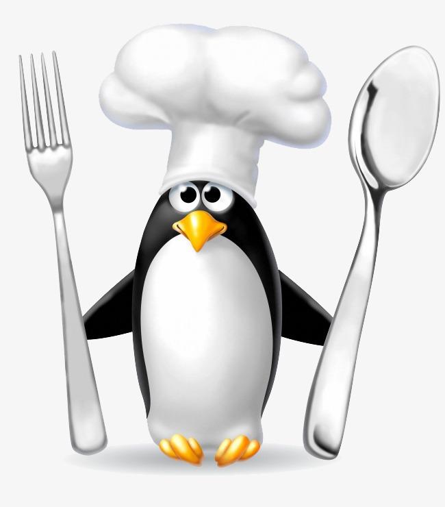 卡通企鹅拿刀叉图片