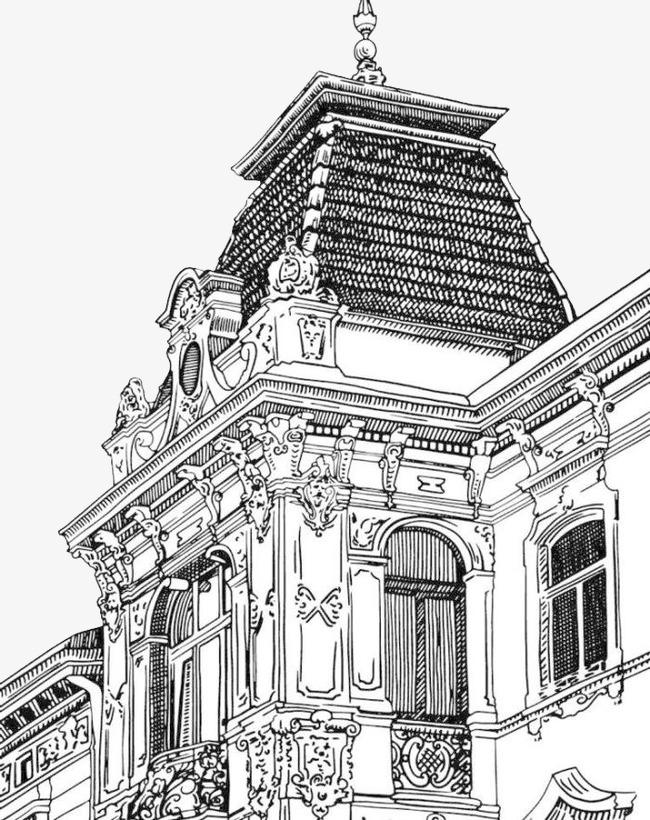 手绘卡通_手绘欧式建筑png素材-90设计