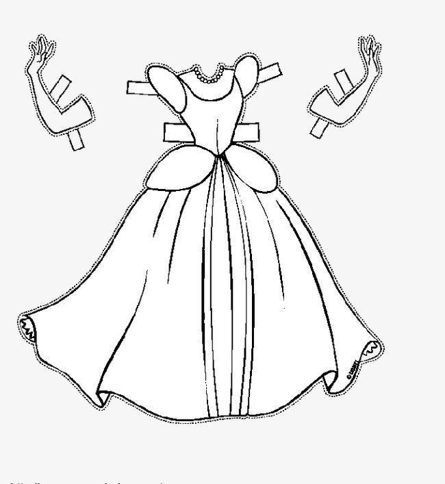 手绘公主裙png素材-90设计