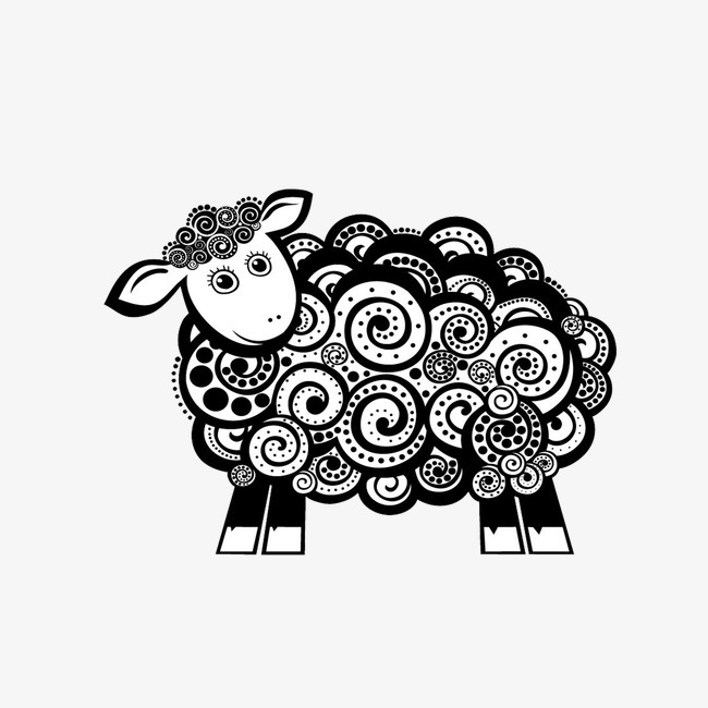 手绘插画羊