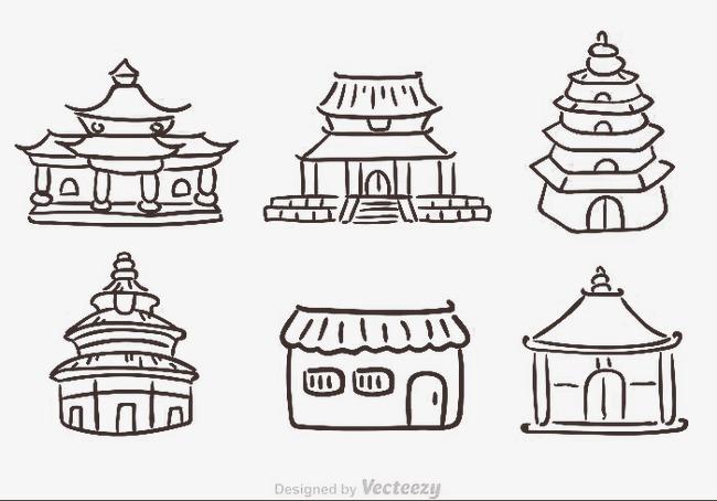 中国古建筑简笔画
