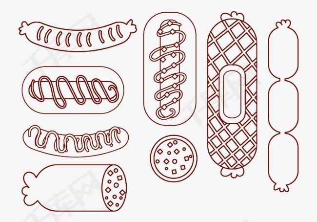 手绘香肠素材图片免费下载 高清卡通手绘png 千库网 图片编号4509762