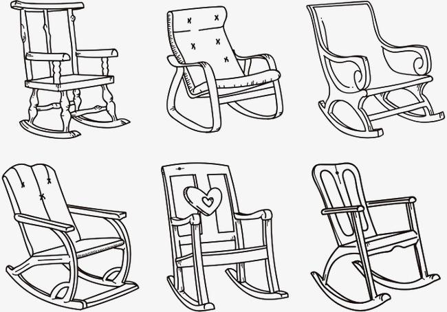 手绘卡通_手绘家具摇摇椅png素材-90设计