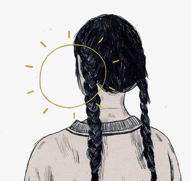 手绘女孩背影