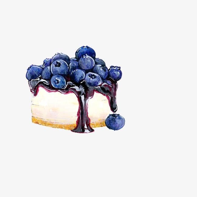 卡通手绘蓝莓蛋糕