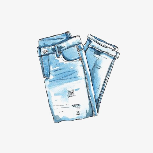 手绘牛仔裤牛仔裤手绘水彩裤子时尚单品马克笔手绘时尚水彩手绘免抠