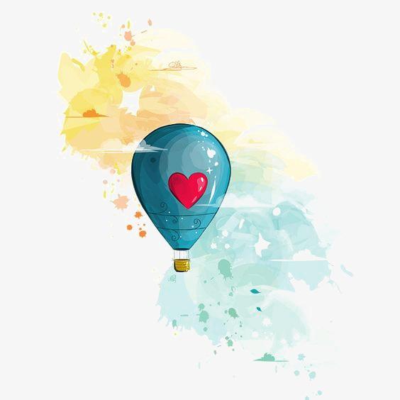 手绘热气球 创意热气球 红色爱心 水彩             此素材是90设计