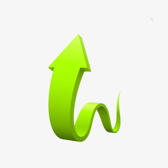 立体绿色箭头png素材-90设计