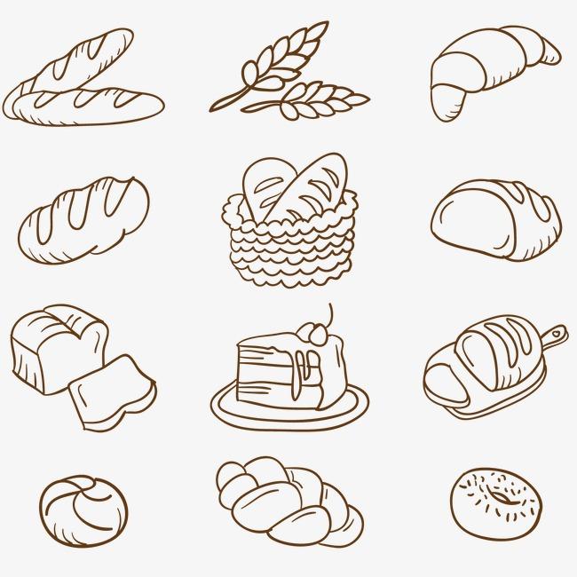 面包手绘涂鸦矢量图