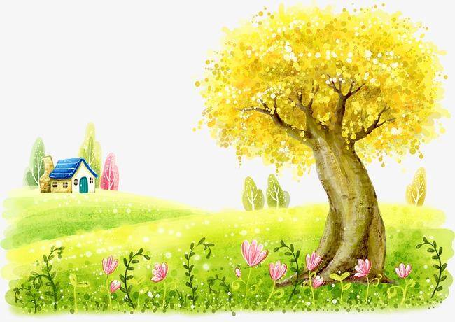金色大树和蓝色房屋