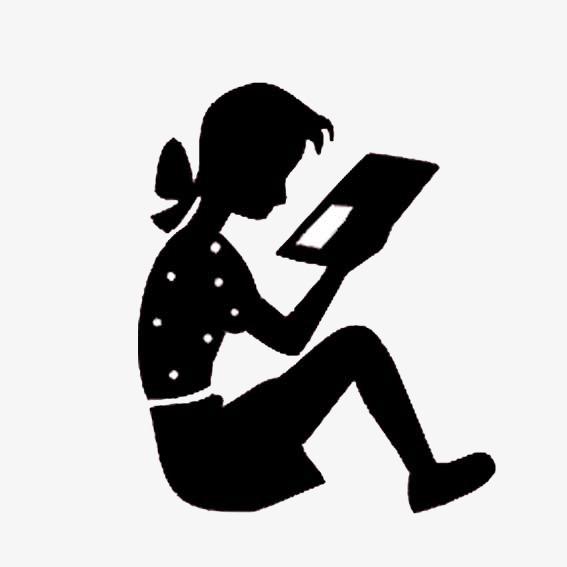 看书的女孩素材图片免费下载 高清卡通手绘png 千库网 图片编号4659794