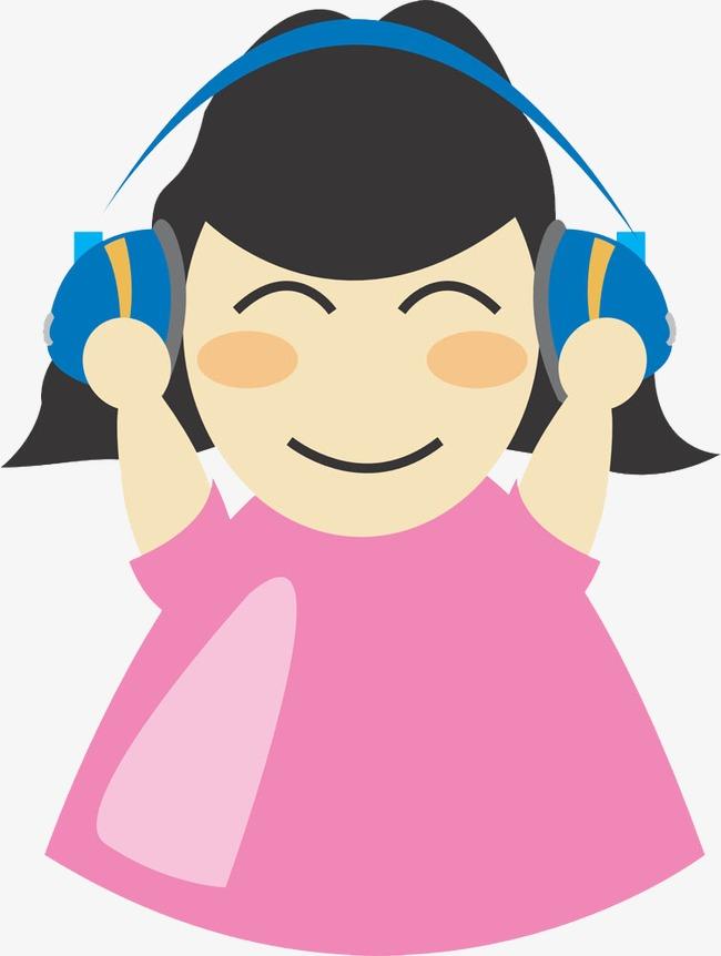带耳机的卡通女孩图片