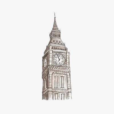 手绘大本钟手绘大钟大本钟英国建筑伦敦-手绘大本钟素材图片免费下