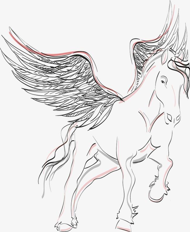 矢量手绘带翅膀的马
