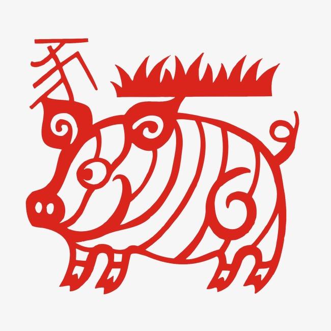 剪纸十二生肖猪