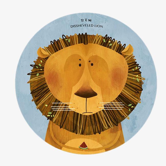 狮子  手绘 圆形             此素材是90设计网官方设计出品,均做版