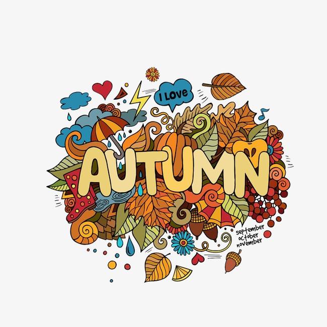 秋季手绘落叶