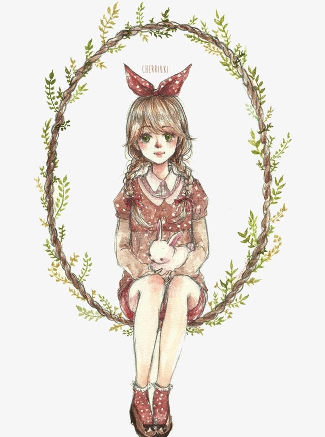 青叶藤女孩抱兔手绘图