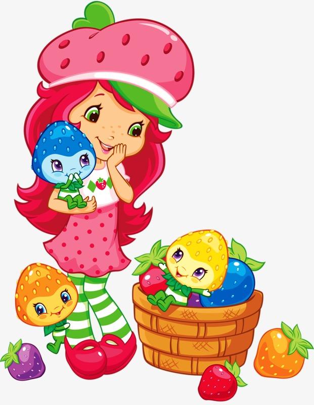 创意 卡通 手绘 草莓女孩             此素材是90设计网官方设计图片