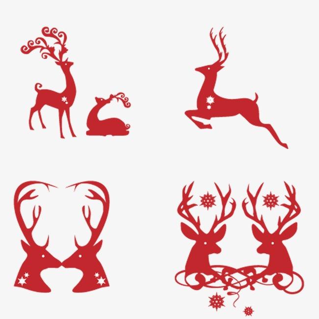 本次圣诞元素圣诞鹿剪影手绘作品为设计师〆好名字都让猪起了丶创作
