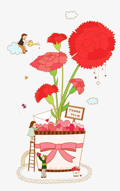 手绘花朵红花