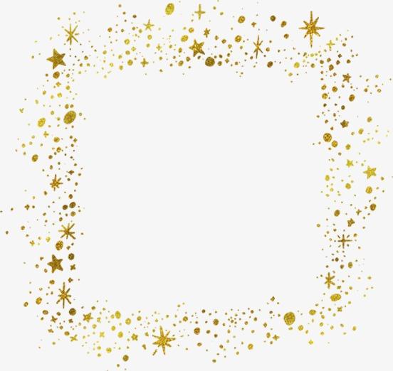 金色星星边框png素材-90设计