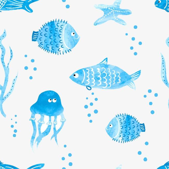 水彩画海洋动物