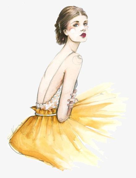 手绘时装模特素材图片免费下载 高清卡通手绘png 千库网 图片编号