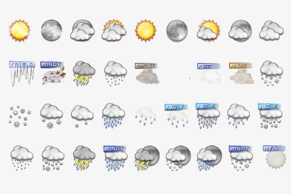 手绘版天气图标天气预报阴雨多云手绘图标-手绘版天气图标素材图片