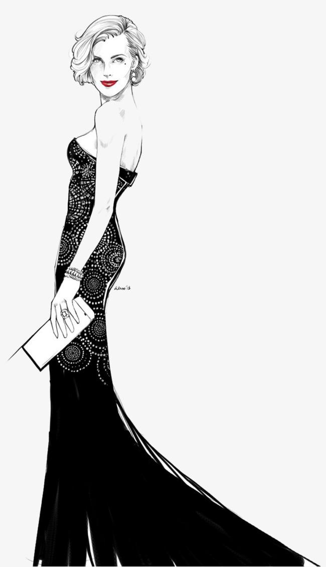 千库网 图片素材 服装设计 手绘酒会女子  按   收藏千库网