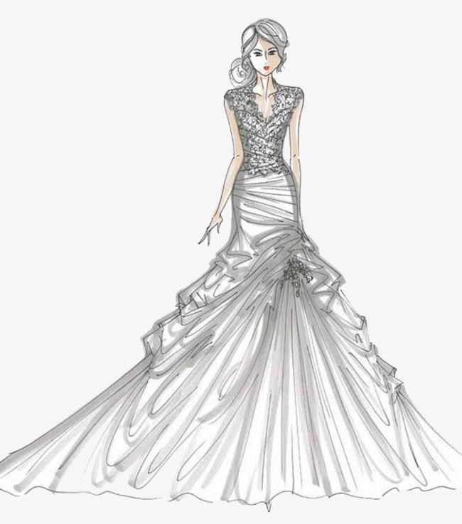 手绘婚纱设计稿素材图片免费下载 高清卡通手绘png 千库网 图片编号4815523
