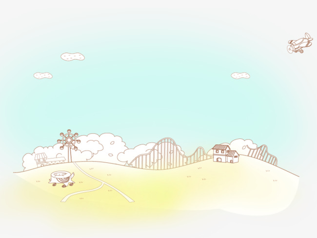 手绘白云下的小路