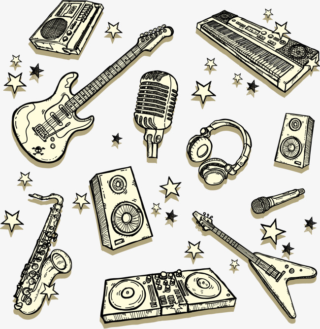 手绘吉他音响电子琴等音乐元素